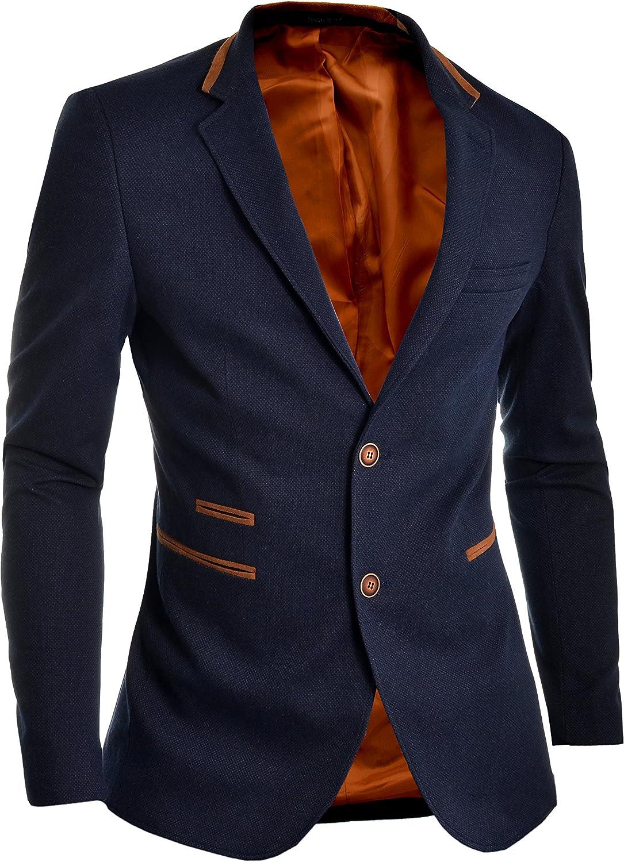 D/&R Fashion Mens Blazer Jacket Blue Slim Fit Elbow Patches Smart Casual Sport Coat S 38