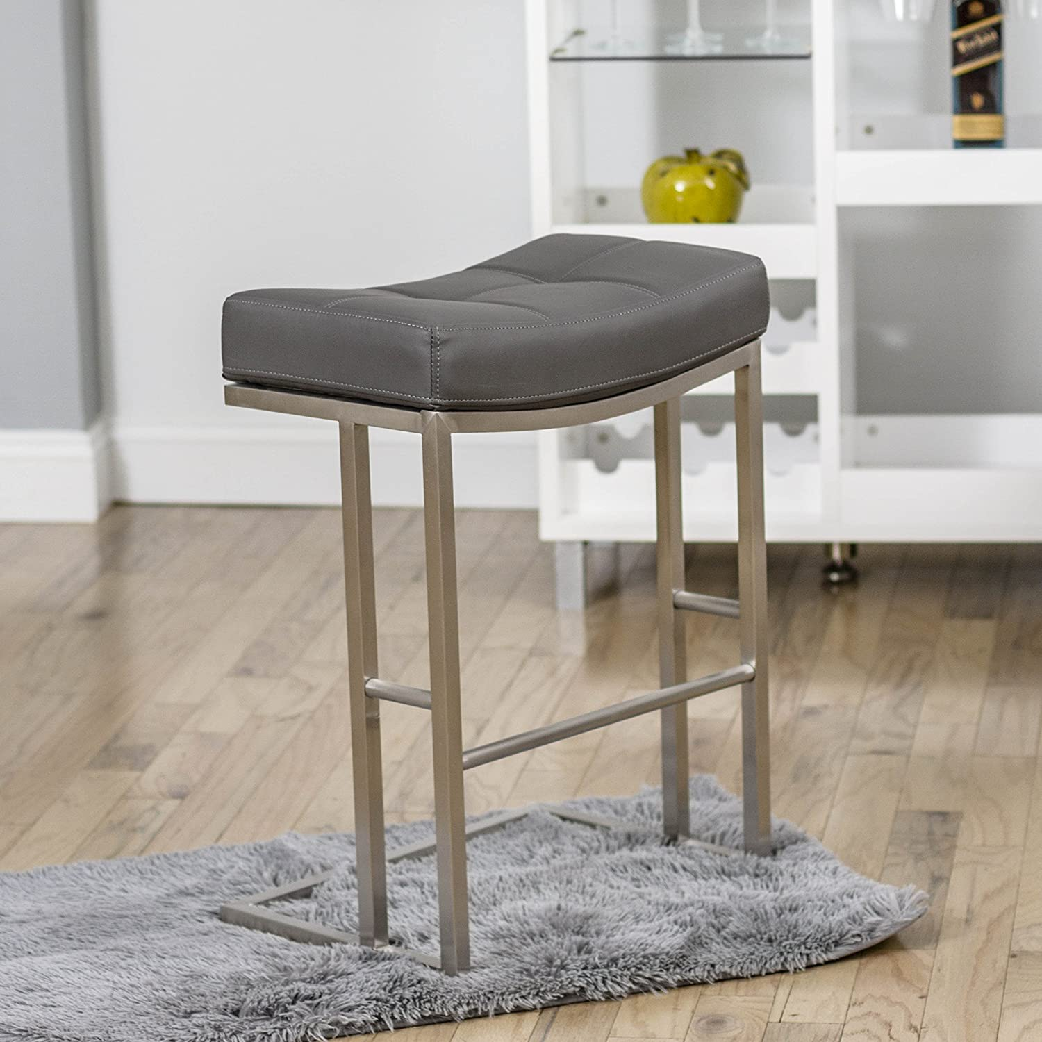 Amazon.com MIX Brushed Stainless Steel Faux Leather Grey 26-inch Seat Height Stationary Saddle Bar Stool Kitchen u0026 Dining & Amazon.com: MIX Brushed Stainless Steel Faux Leather Grey 26-inch ... islam-shia.org