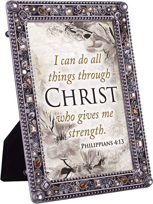 Cottage Garden Do All Things In Christ Strength Jeweled Pewter Colored 5 X 7 Easel Back Photo Frame