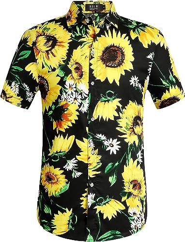 Men's Casual Button Short Sleeve Button Shirt Hawaiian