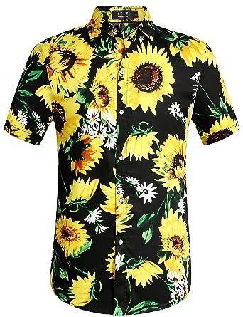 802dab95c SSLR Men's Sunflowers Button Down Cotton Short Sleeve Hawaiian Shirt (Small,  Black)