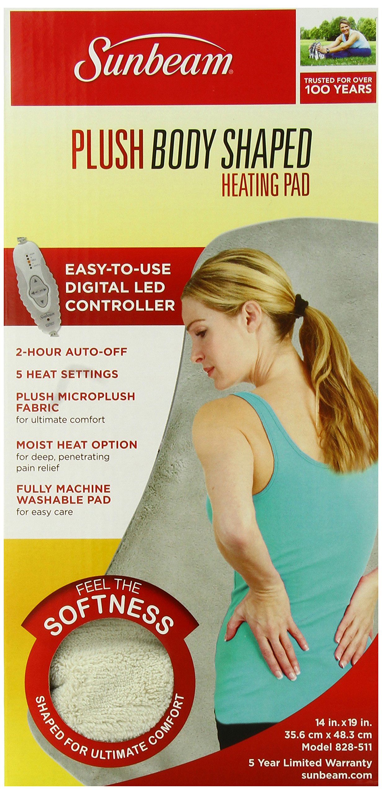 Sunbeam 828-511 Contoured Heating Pad with Digital LED Controller