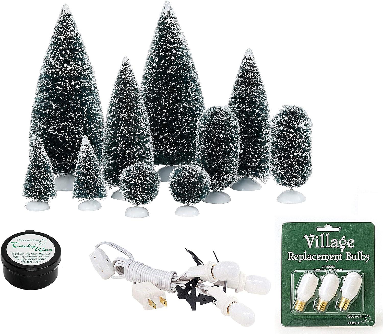 Enesco Department 56 Village Accessories Bundle Trees Bulbs Tacky Wax and Socket Set