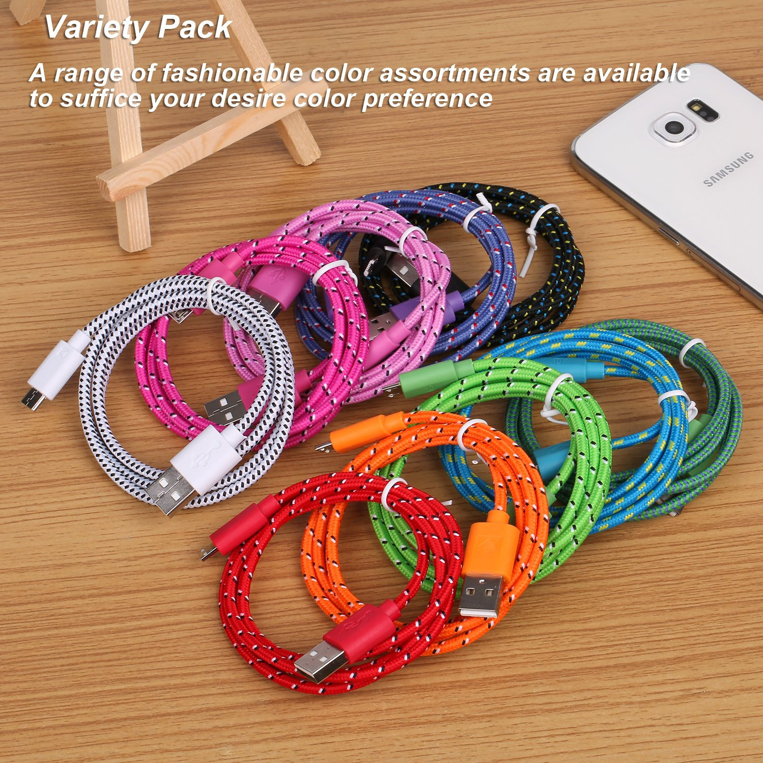 Micro USB Charger, Eversame 10-Pack Colorful 3Ft 1M Nylon Braided USB 2.0 A Male to Micro B Data Sync and Charging Cable Cord For Android Phones, Samsung Galaxy S6 Edge Plus/Note 5, HTC, LG and More by Eversame (Image #7)