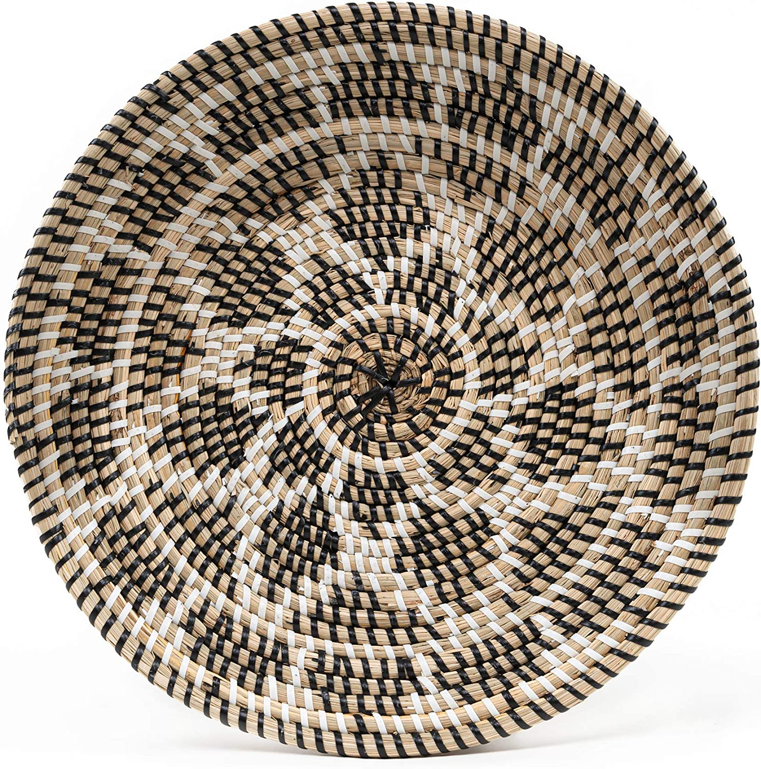 HNC ECOLIFE Wall Basket Decor - Hanging Woven Wall Basket - Round Rattan Decorative Bowls - Seagrass Wall Decor - Wall Baskets Decor Boho Flat - Woven Hanging Art (35 cm/13.7 inch)