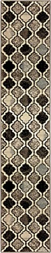 Superior Viking Area Rug, Bold Trellis Vintage Pattern, 2 x 11 , Ivory