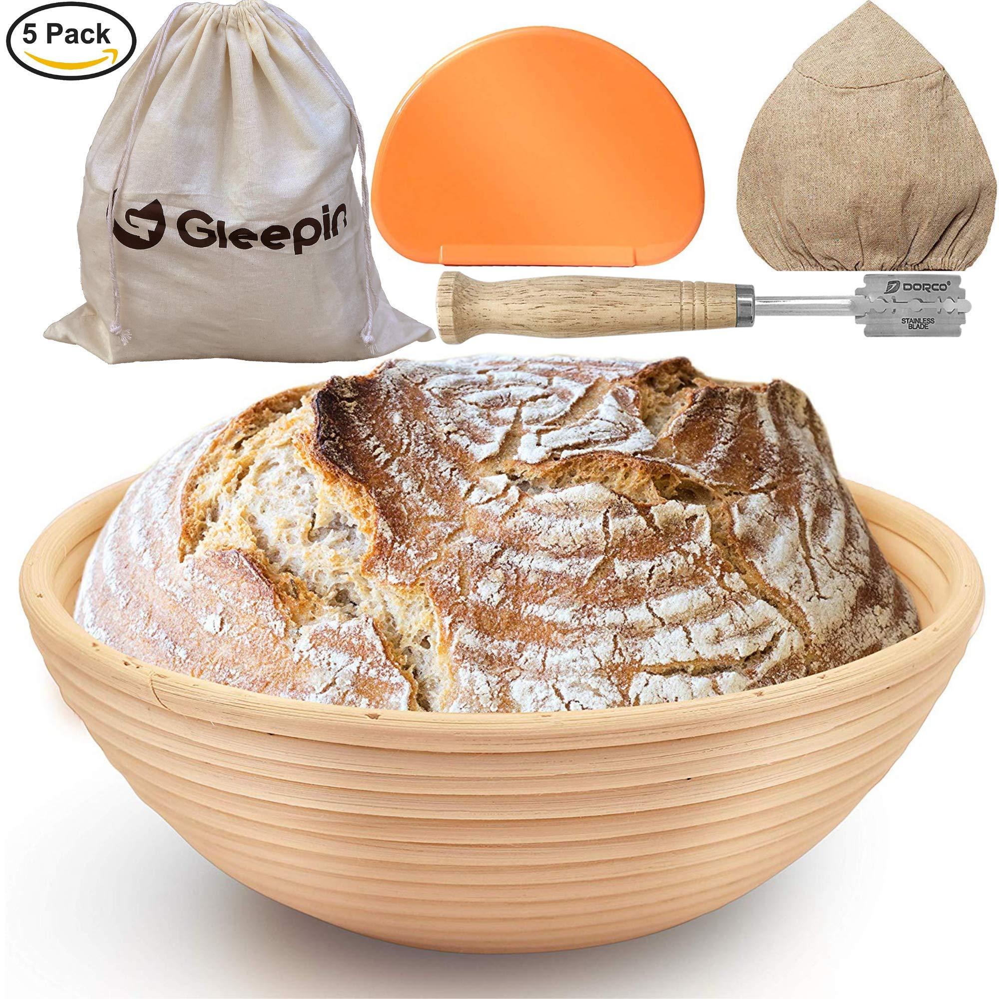 GLEEPIN SET: 9 Inch Round Banneton Proofing Basket Sourdough Bread Baking Tools, Rattan Handmade Bread Proofing Baskets & Bread Lame Dough Scoring Tool & Dough Scraper & Linen Liner Cloth &Bread Bags by Gleepin