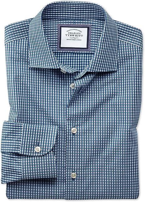 Camisa Business Casual Azul Marino y Verde a Cuadros Vichy sin Plancha con Texturas Modernas, Corte Slim fit y Cuello semicutaway: Amazon.es: Ropa y accesorios