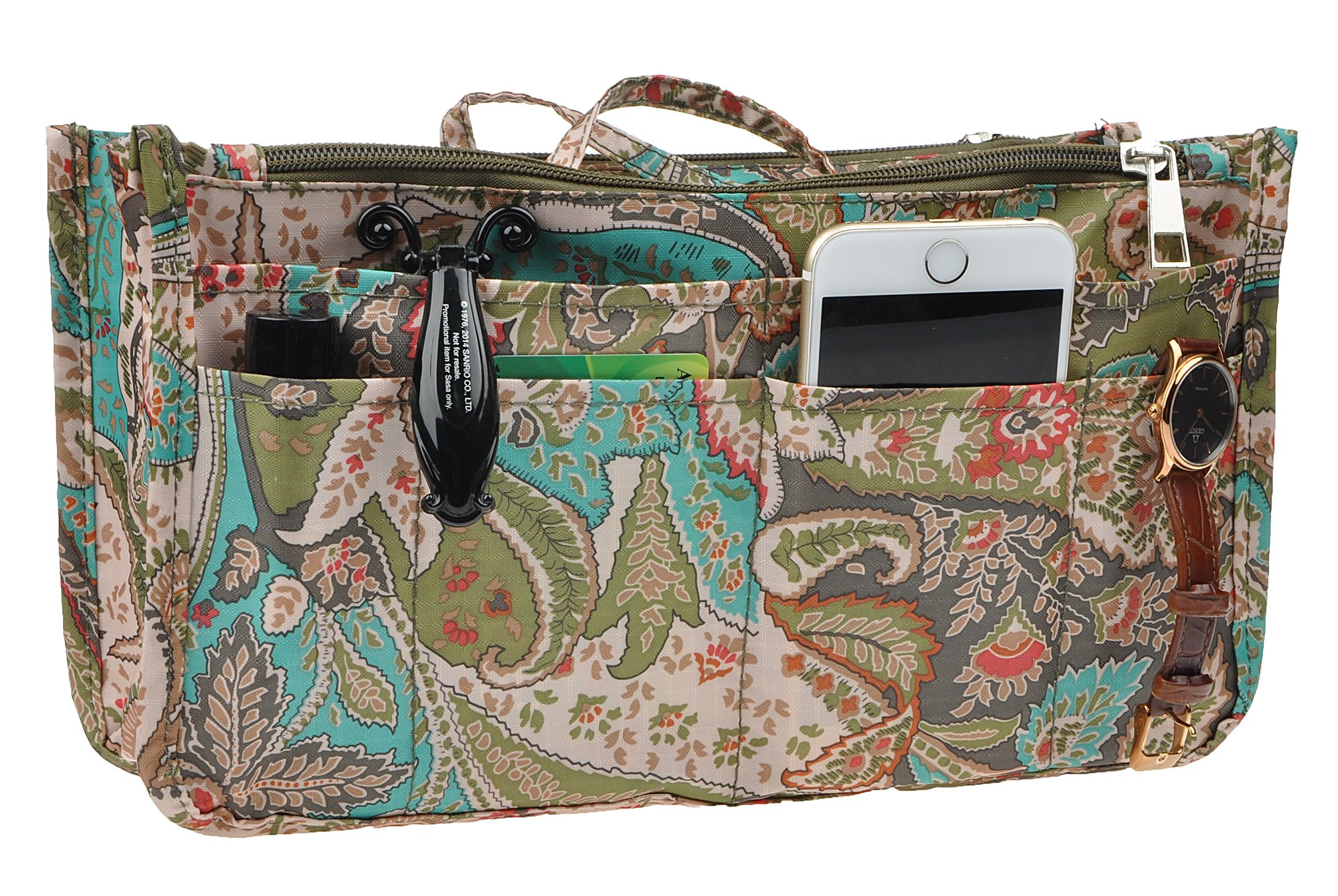 Vercord Printed Purse Handbag Tote Insert Organizer 13 Pockets With Zipper and Handles 2 Size, Peacock Flowers