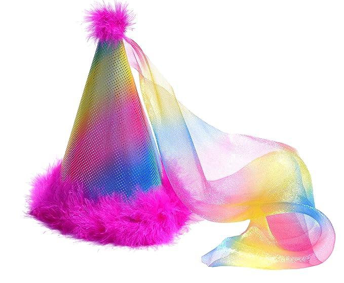 Amazon Birthday Party Hat Princess Rainbow Pink Boa Feathers