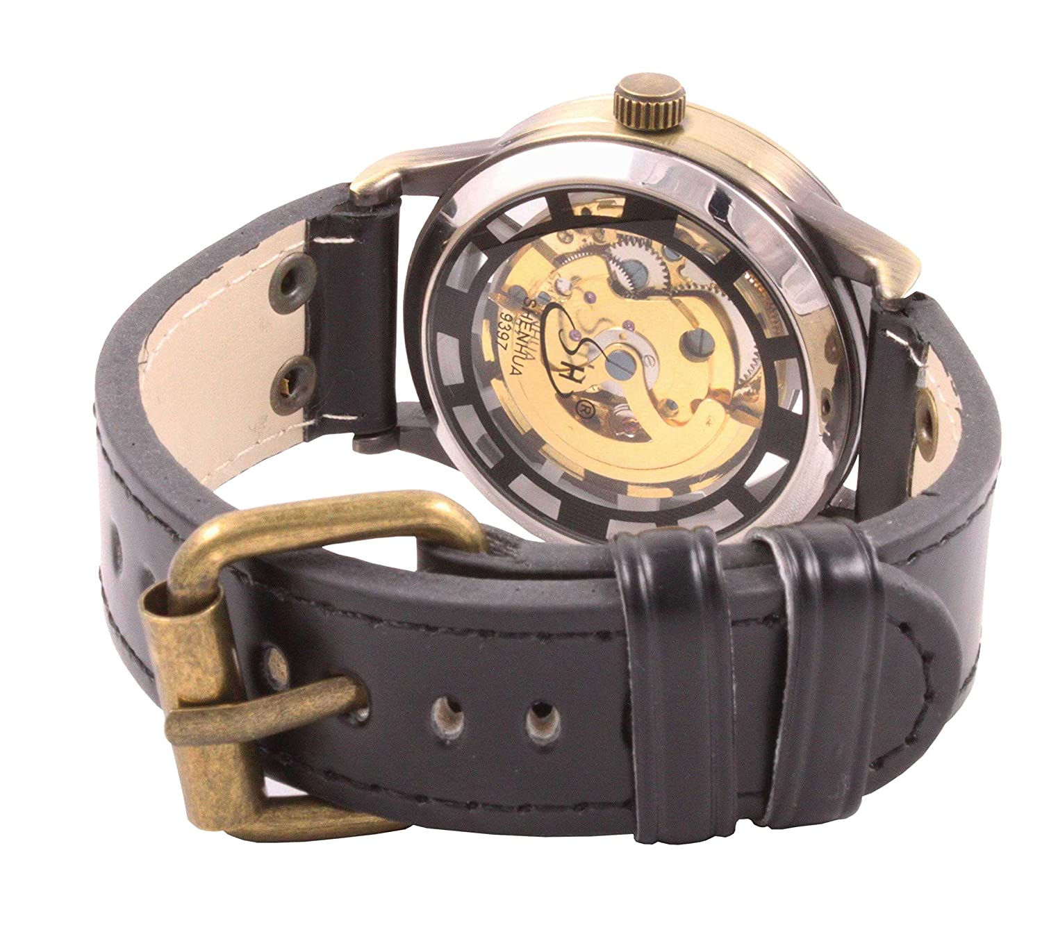 Amazon.com: ShoppeWatch Mens Automatic Mechanical Watch Steampunk Skeleton Dial Leather Band AMW-161: Watches