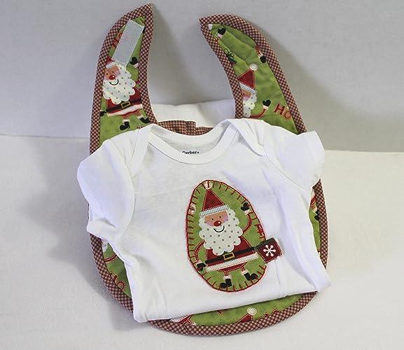 331bf4cfa Amazon.com  Onesie and Bib Girl Gift Set Size12 Months Santa Ruffle ...