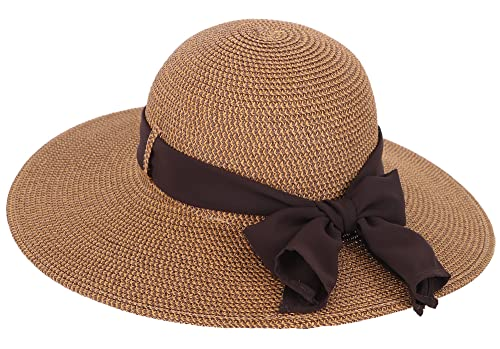 Simplicity Women's Wide Brim Summer Beach Sun Straw Hats