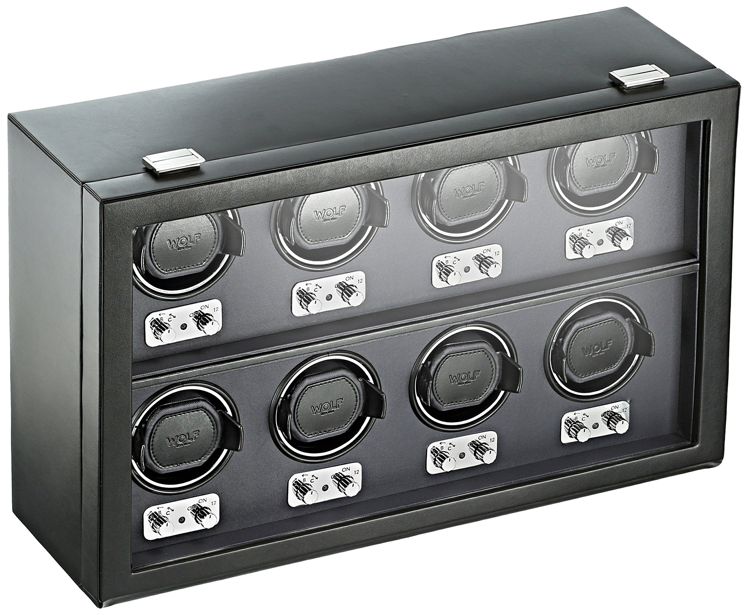 WOLF 270802 Heritage 8 Piece Watch Winder with Cover, Black