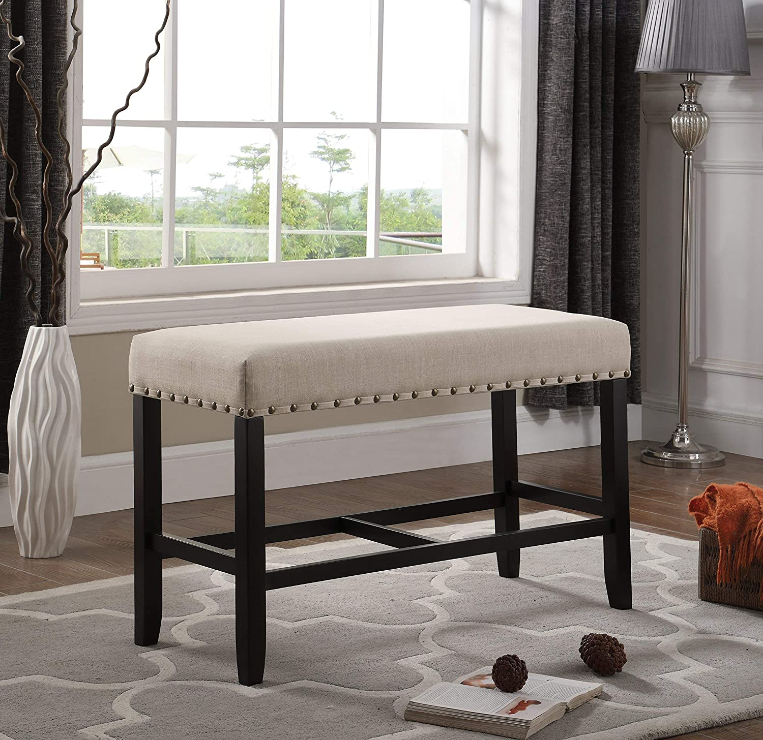 Tan Roundhill Furniture PB162TA Biony Fabric Counter Height Dining Bench with Nailhead Trim