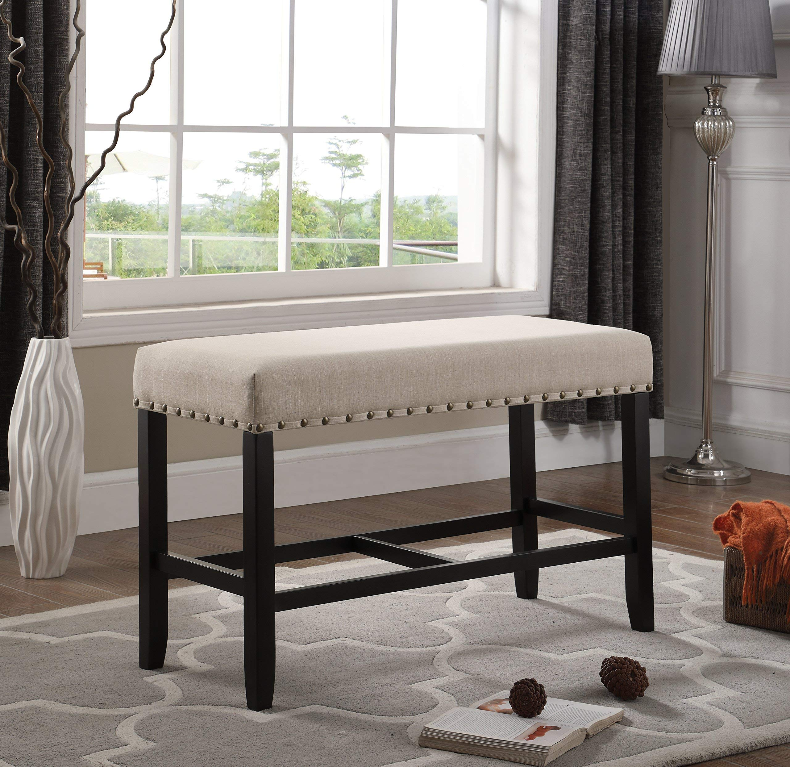 Roundhill Furniture PB162TA Biony Fabric Counter Height Dining Bench with Nailhead Trim, Tan by Roundhill Furniture