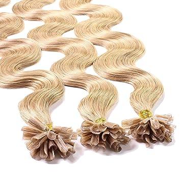 Hair2Heart 150 x 1g Extensiones de Queratina - 60cm - Corrugado, Color 27 Rubio Dorado Oscuro: Amazon.es: Belleza