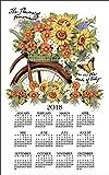 2017 Bicycle Floral Susan Winget Linen Towel Calendar (F3343)