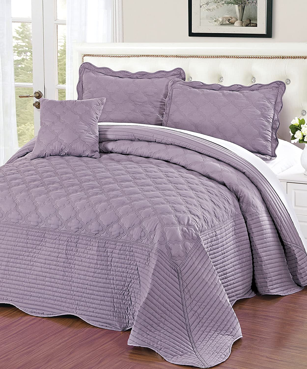 Queen Serenta Quilted Cotton 4 Pieces Bedspread Set Regal Orchid BNF Home BNFBDSQQCOTRO