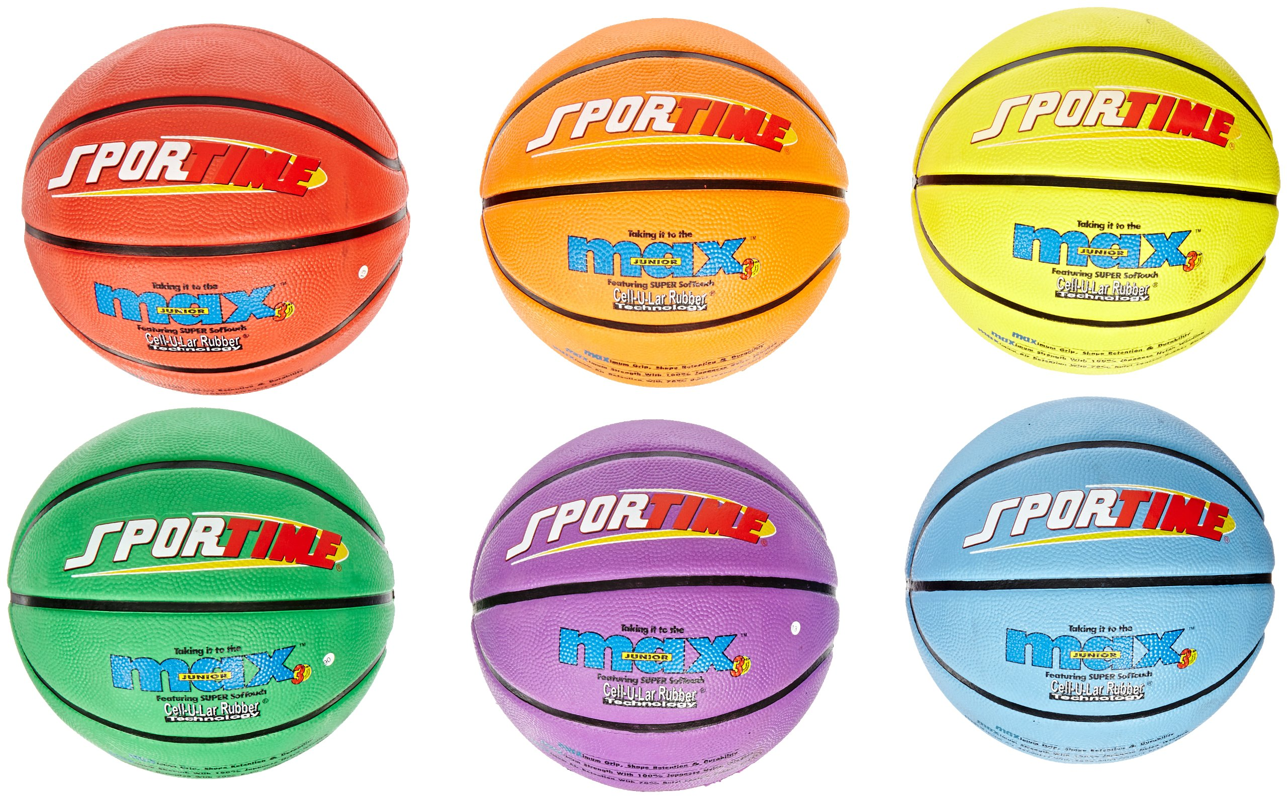 SportimeMax Junior Basketballs, 27 Inches, Multiple Colors, Set of 6 by Sportime (Image #1)