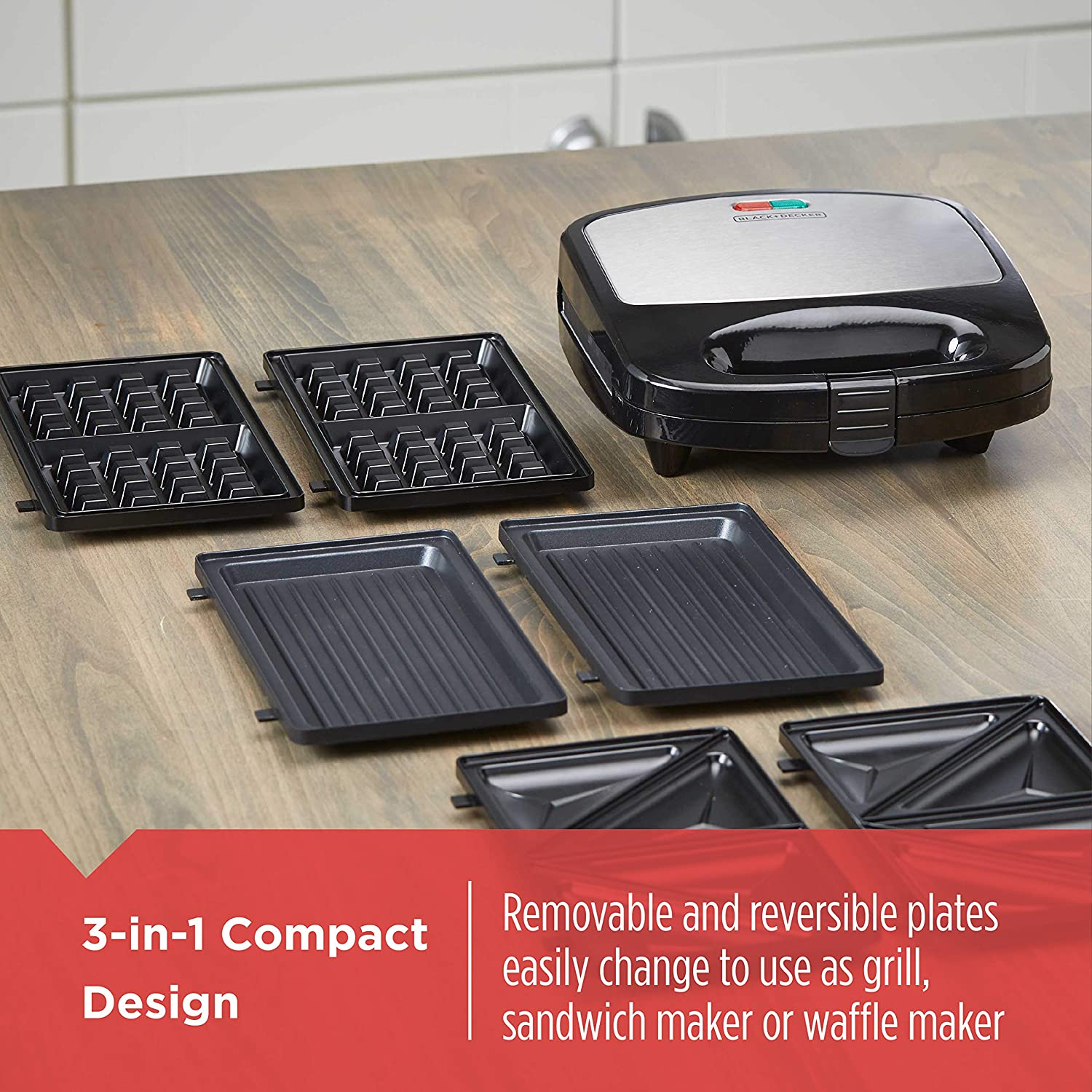 BLACK DECKER WM2000SD 3-in-1 Morning Meal Station Waffle, Grill, or Sandwich Maker, Compact Design, Black Silver