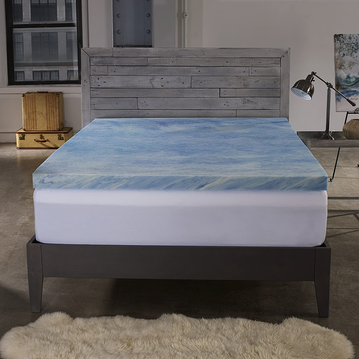 Sleep Innovations 2.5-inch Gel Memory Foam Mattress Topper with 100% Cotton Cover, Made in The USA with a 10-Year Warranty - King Size