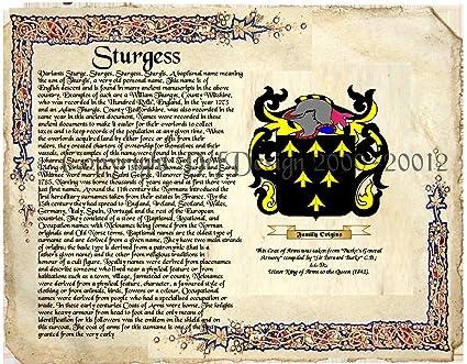 Amazon com: Sturgess Coat of Arms/ Family Crest on Fine