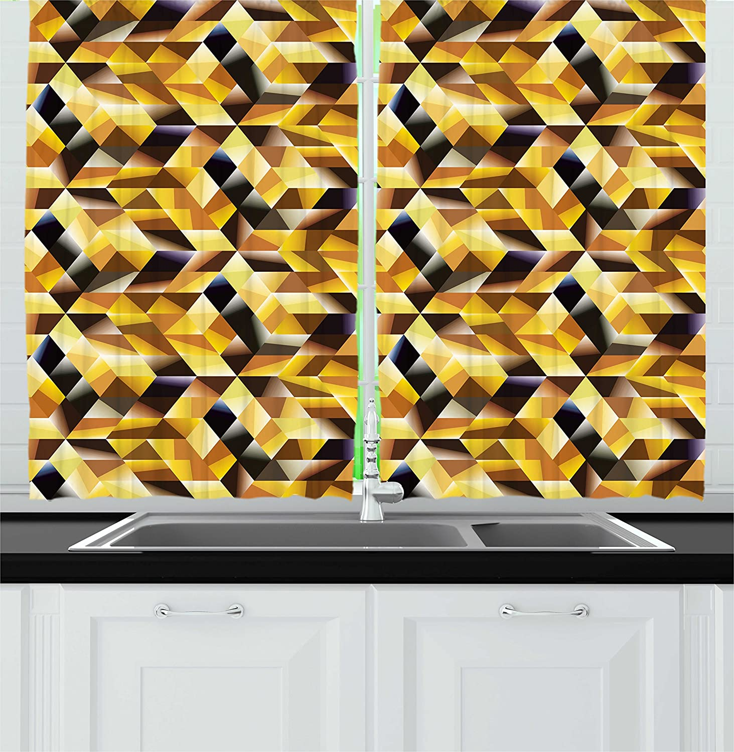 Amazon Com Ambesonne Abstract Kitchen Curtains Cubes And Blocks Form Abstract Style Geometric Digital Graphic Art Pattern Window Drapes 2 Panel Set For Kitchen Cafe Decor 55 X 39 Black Yellow Brown Home