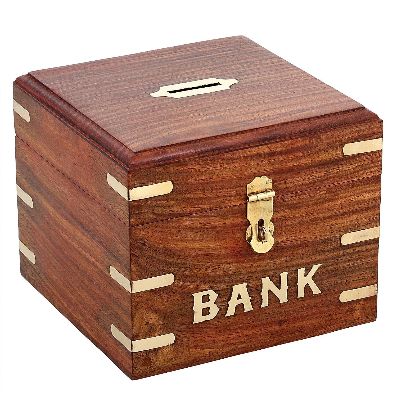 Amazon com shalinindia indian coin bank money saving box banks for kids adults wood vacation piggy bank toys games