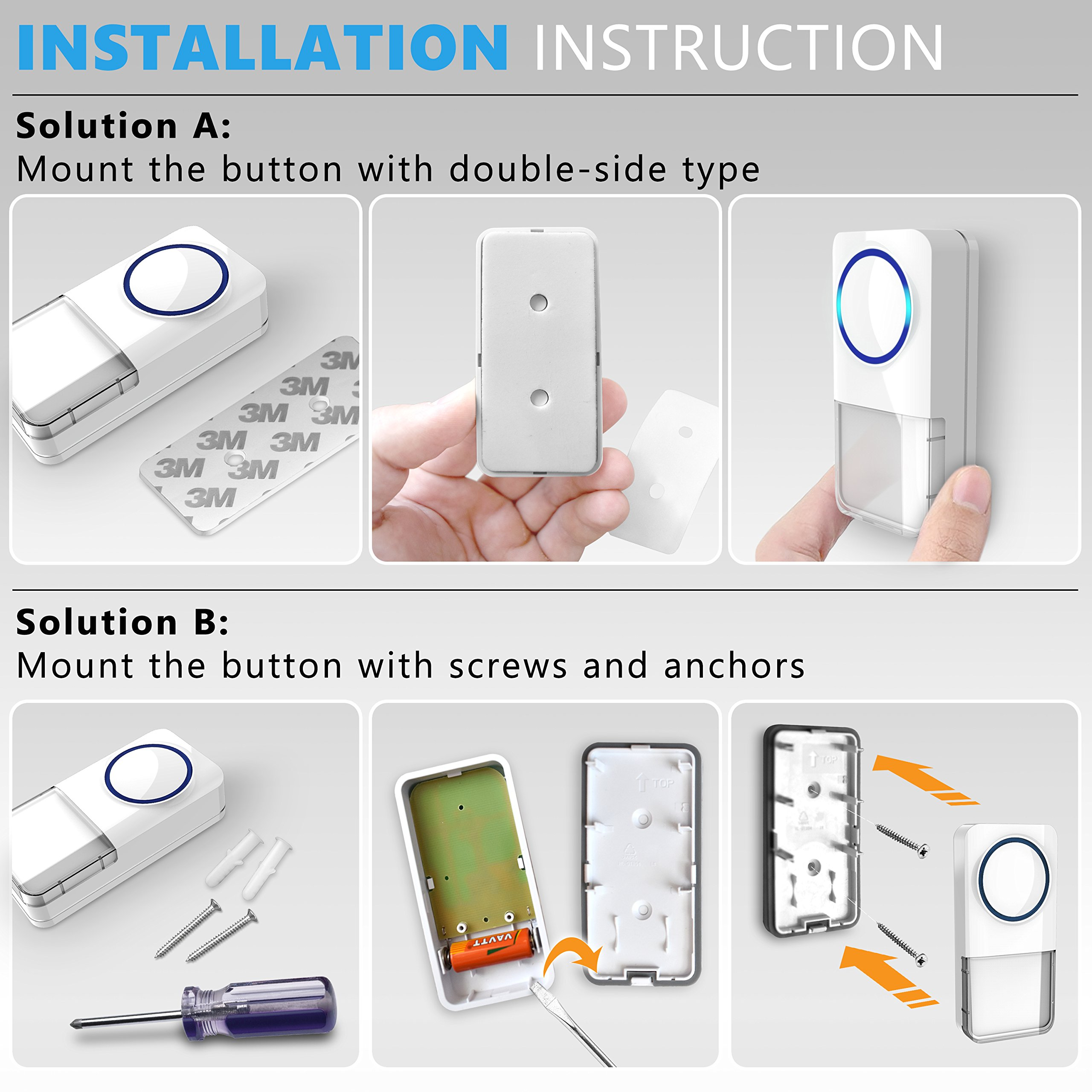 Wireless Doorbell - [NEW 2018] Kit -2 Electronic Receiver Chimes +Waterproof Transmitter Button-1000ft/300m Operating Range -52+ Different Ringtones -Adjustable Volume -Easy Installation by MAVES (Image #7)