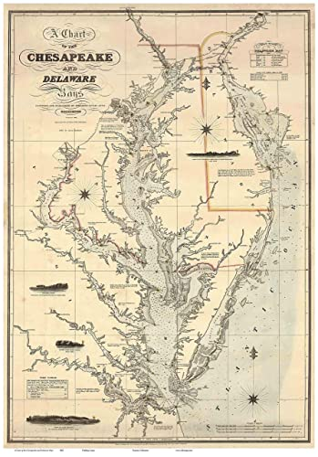 Chesapeake Bay Topographic Map.Amazon Com Chesapeake Bay Delmarva Peninsula 1862 Lucas Map Reprint