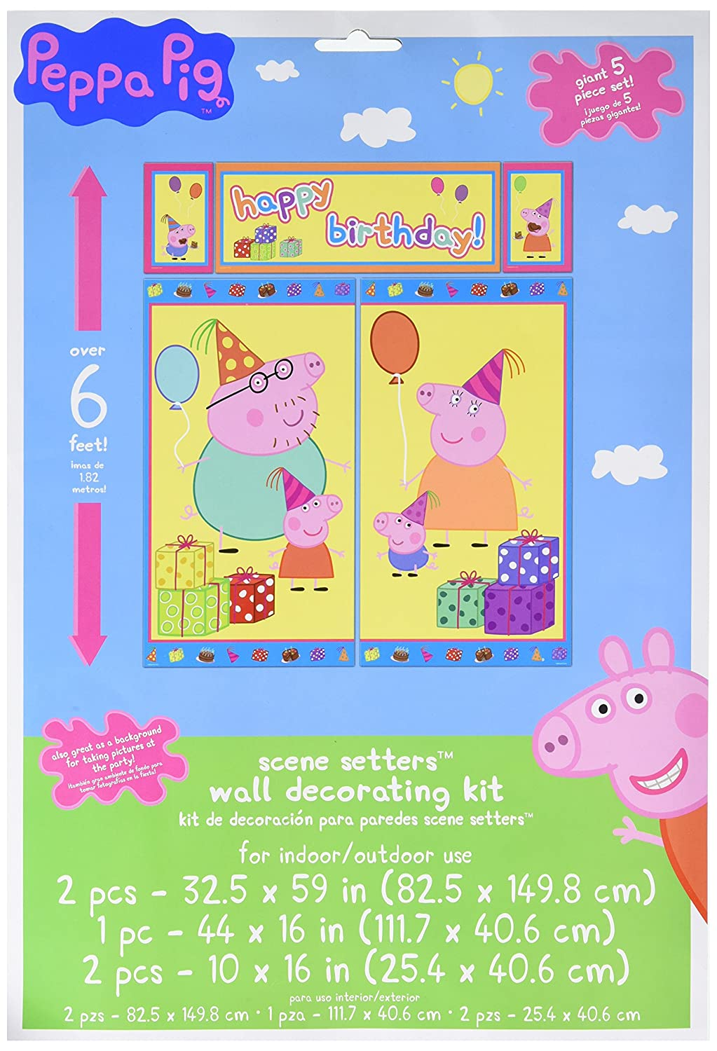 Amazon.com: Amscan Peppa Pig Birthday Party Scene Setters Wall ...