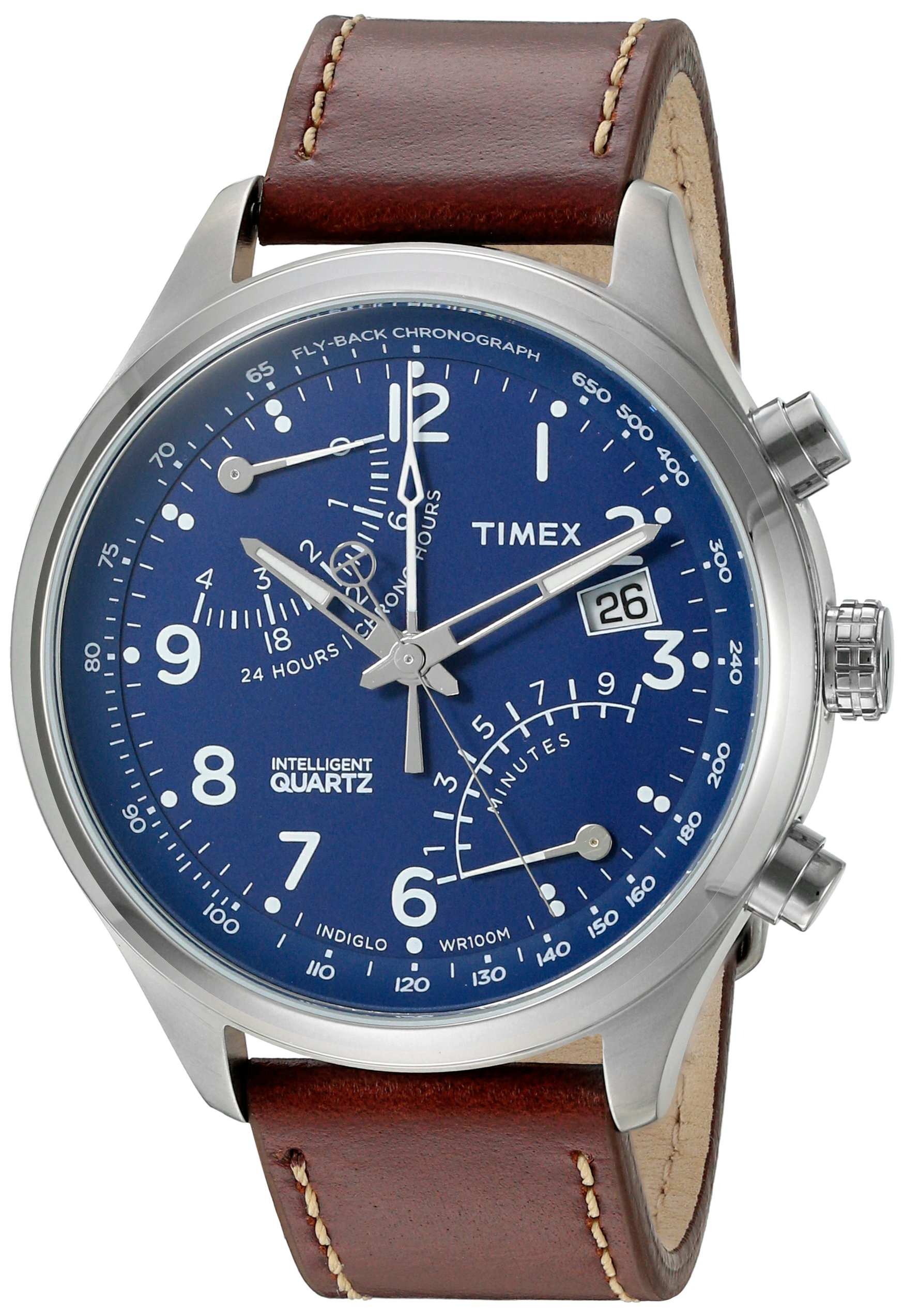 Timex Men's 'Intelligent Fly-Back Chronograph' Quartz Stainless Steel and Leather Casual Watch, Color:Brown (Model: TW2P78800ZA) by Timex