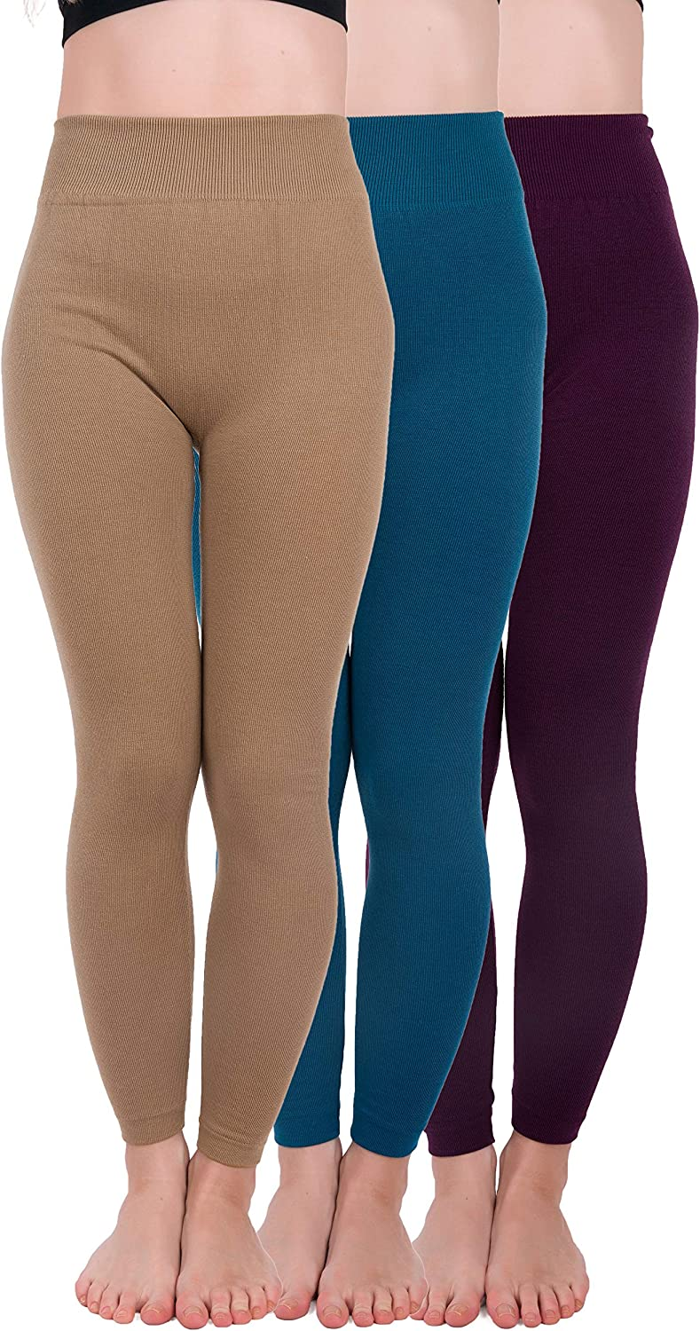 Homma 3 Pack Extra Thick French Terry Thermal Leggings At Amazon Women S Clothing Store