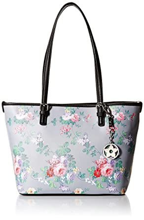 0f835f0bce4d Bueno of California Floral Tote, Grey Flower Bouquet/Black: Amazon ...