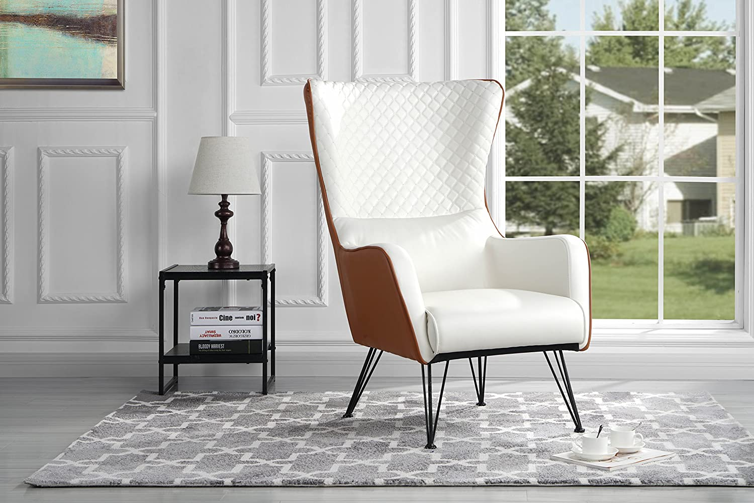 Mid-Century Modern Faux Leather Accent Armchair with Shelter Style Living Room Chair (Black) Divano Roma Furniture ARM39-PU