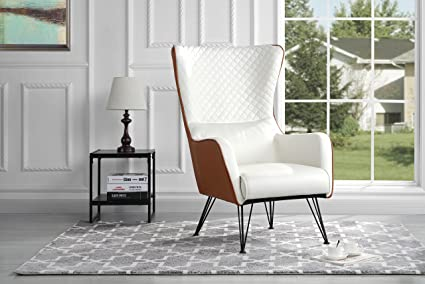 Mid-Century Modern Faux Leather Accent Armchair with Shelter Style Living Room Chair (Camel & Amazon.com: Mid-Century Modern Faux Leather Accent Armchair with ...
