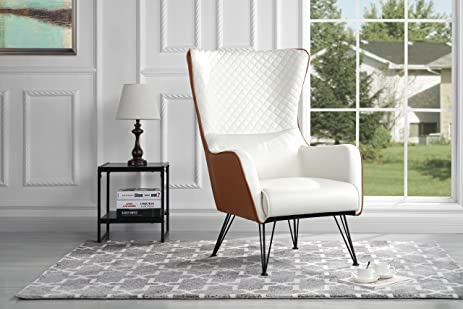 Amazon.com: Mid-Century Modern Faux Leather Accent Armchair with ...
