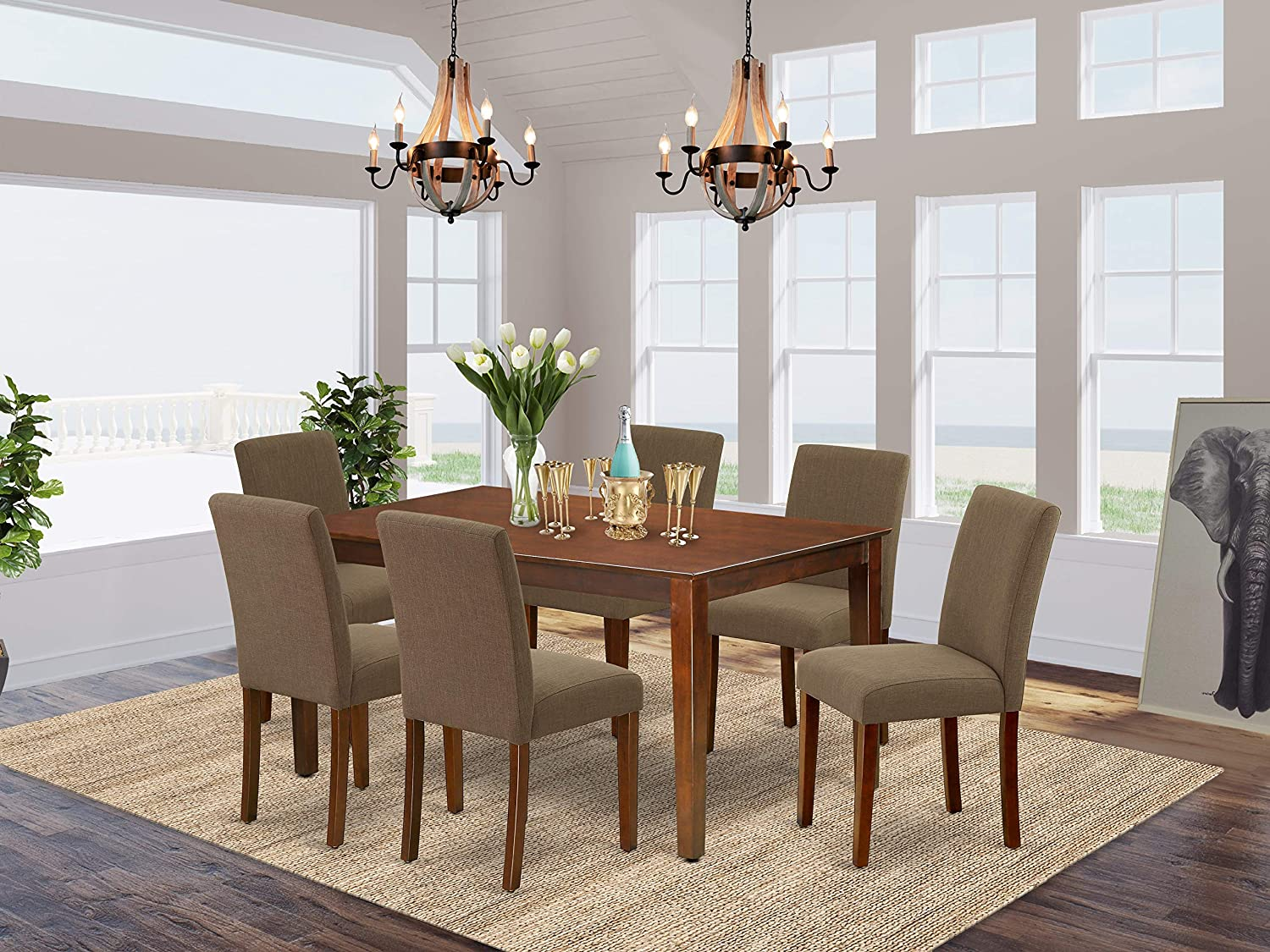 """East West Furniture 7Pc Rectangle 60"""" Dining Table And 6 Parson Chair With Mahogany Leg And Linen Fabric Coffee, 7"""