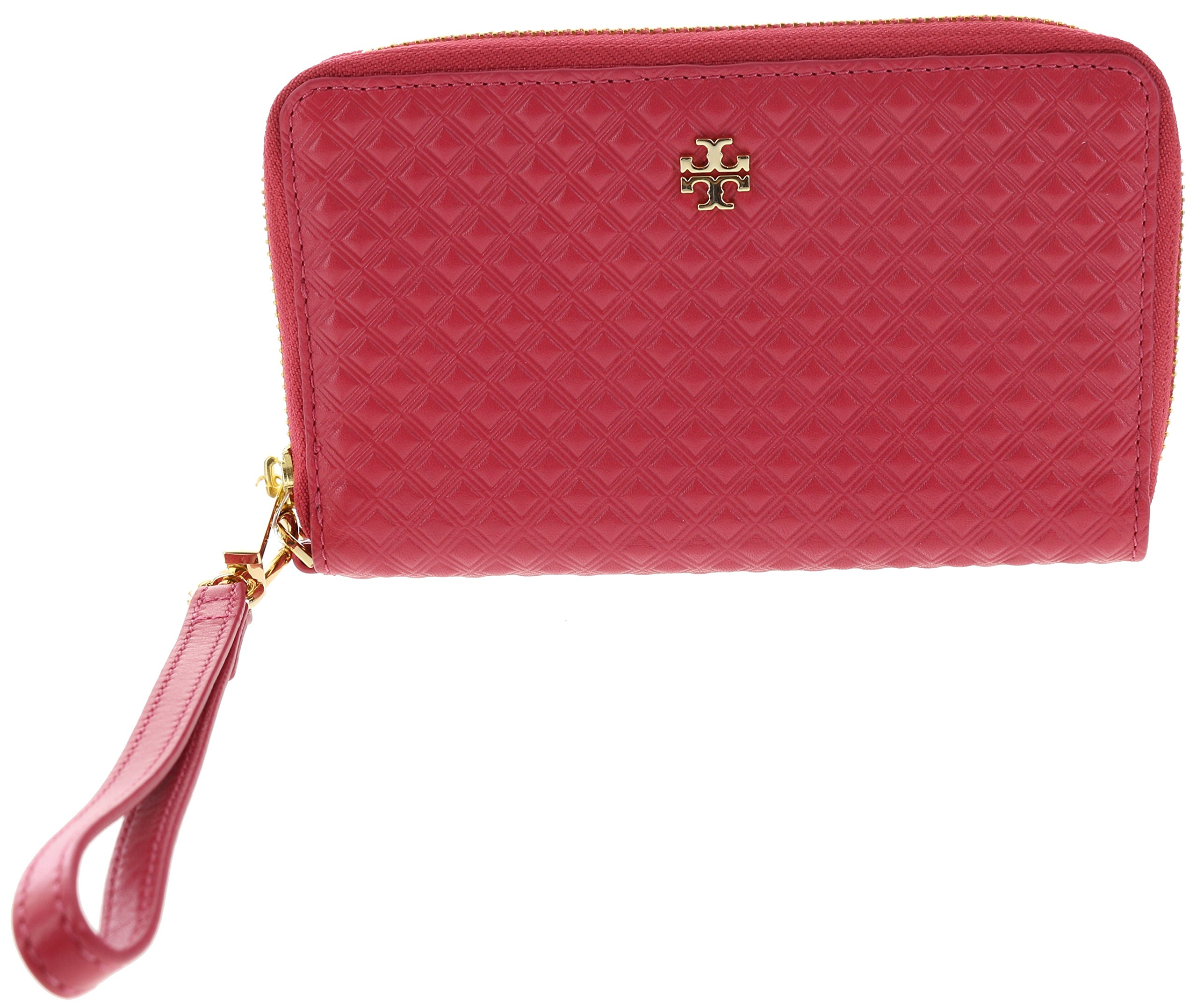 Tory Burch Marion Embossed Leather Smartphone Wristlet, Style No. 30591 (Dark Peony)