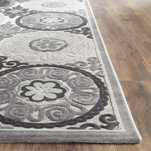 Safavieh Paradise Collection PAR645B Light Grey and Dark Grey Viscose Square Area Rug 6 7 Square