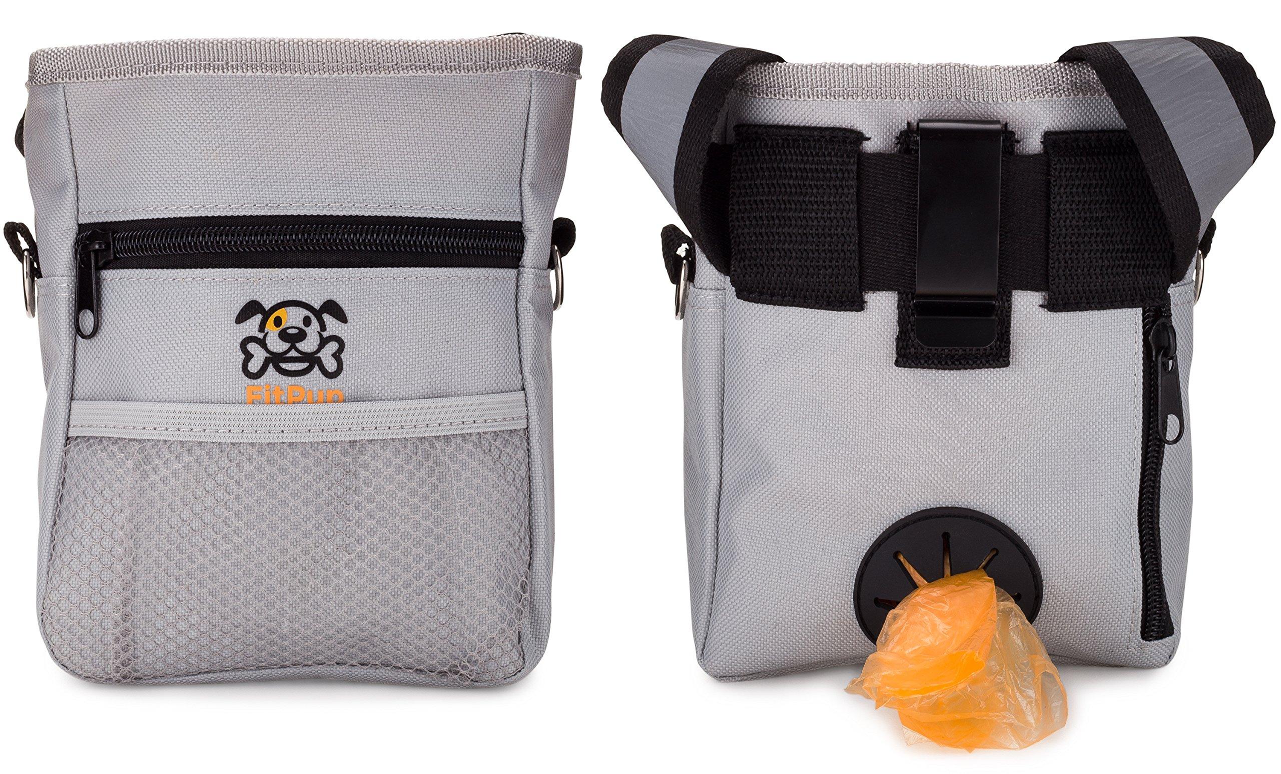 Dog Treat Training Pouch Bag, Carry Treats Toys, Poop Bag Dispenser, 1 Roll Poop Bags, Reflective Lining Stitching, Adjustable Waist Belt, Over the Shoulder Strap, Metal Belt Clip, Zippered Pockets