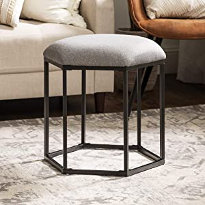 Walker Edison Hexagon Upholstered Fabric Ottoman Stool Living Room Foot Rest Coffee Table, 20 Inch, Grey