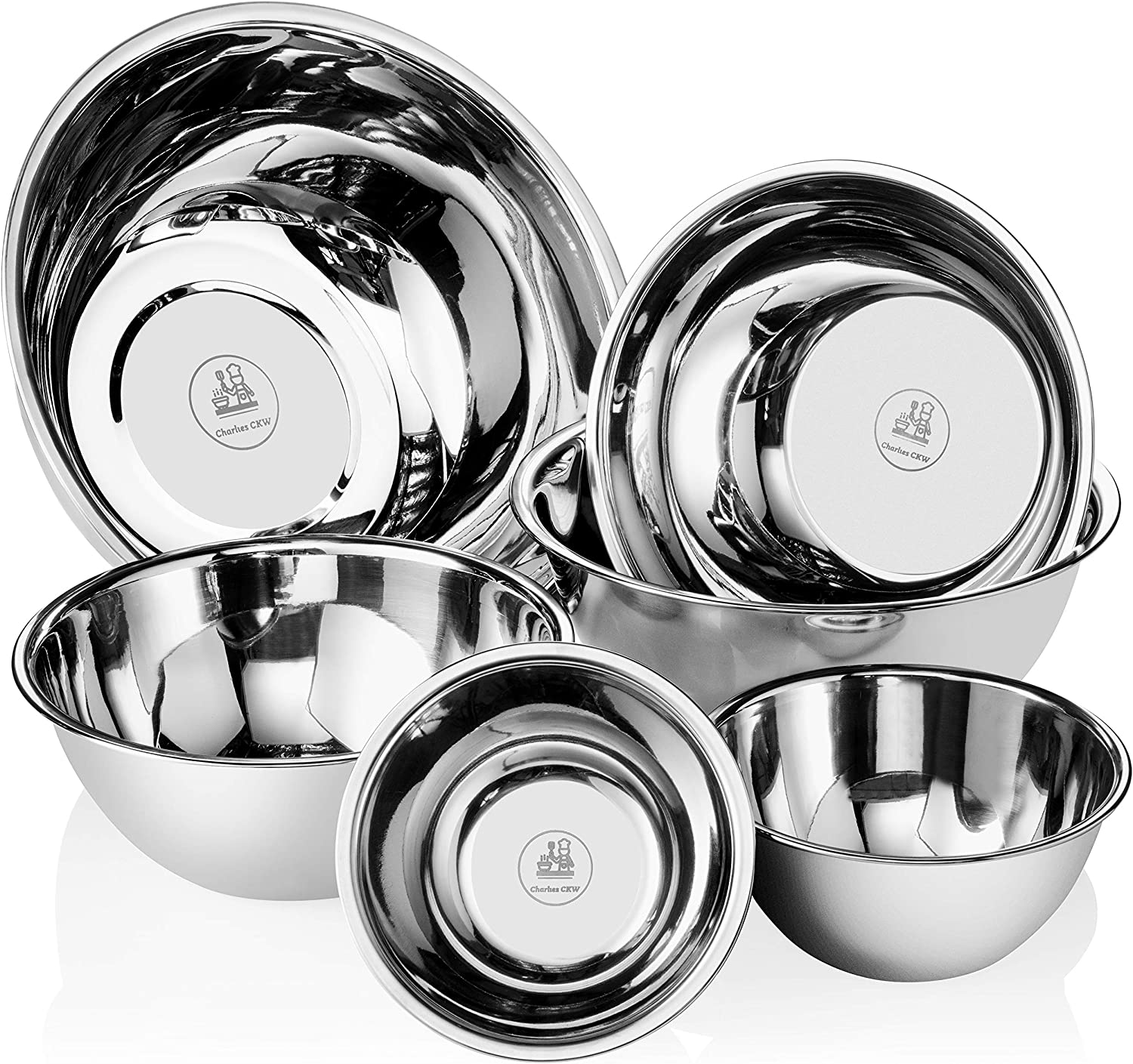 Charlies CKW Premier Stainless Steel Mixing Bowls Set of 6 including 3/4, 1.5, 3, 4, 5, and 8 qt Polished Mirror Finish Nesting Bowls Convenient Cookware for Grilling, Cooking, Baking, Gifts, and more