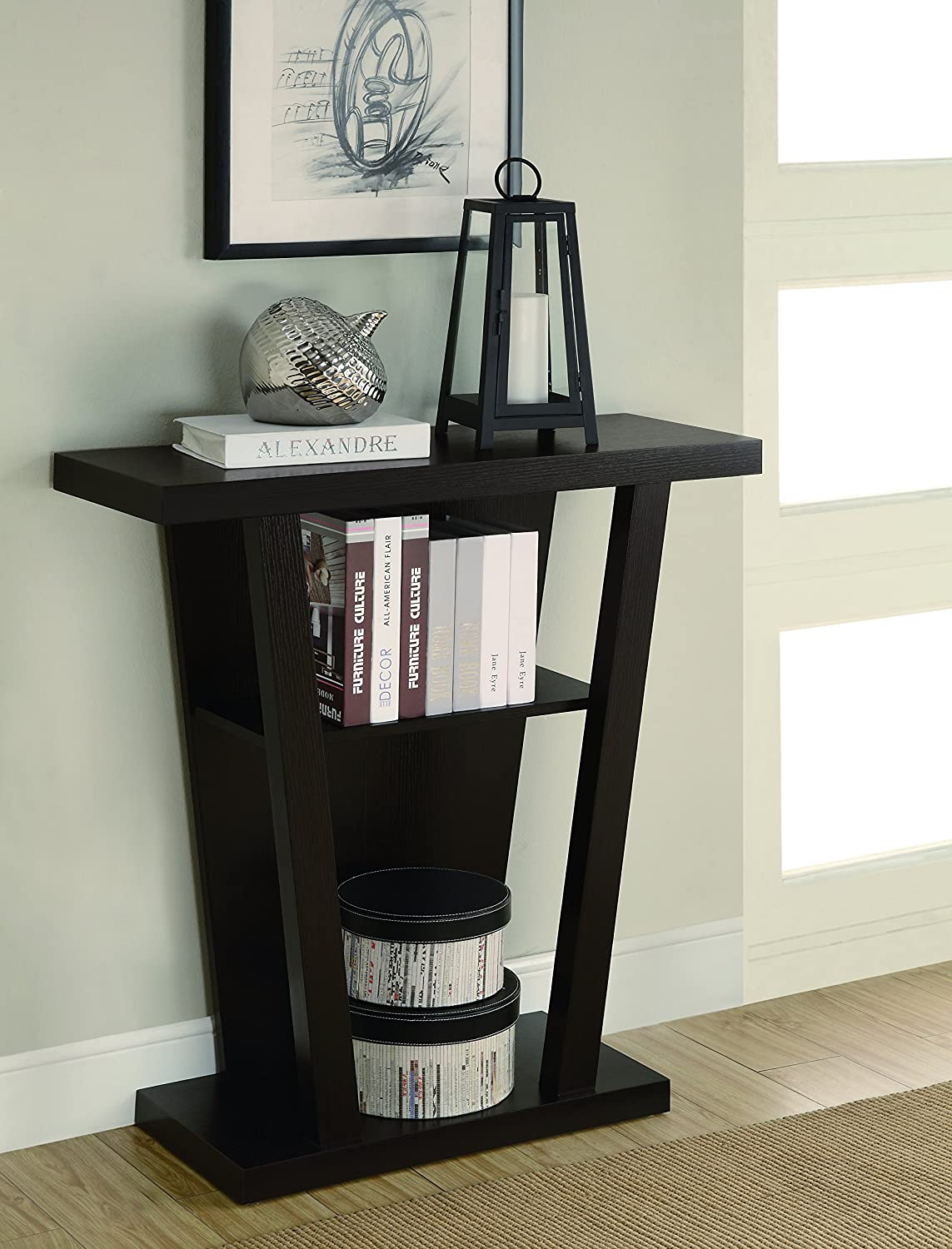 Black console table with storage - Coaster Home Furnishings 950136 Contemporary Console Table Cappuccino