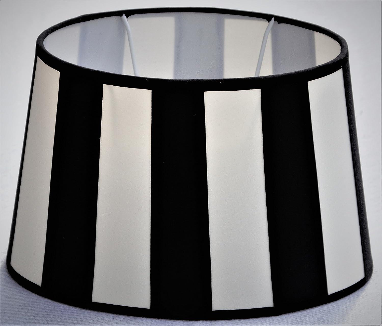 Lampenschirm, Chintz,. oval, Balkenstreifen schwarz/creme Do=15 / Du=20 / H=12cm Befestigung unten E27 (optional lieferbar Reduzierring auf E14) vs