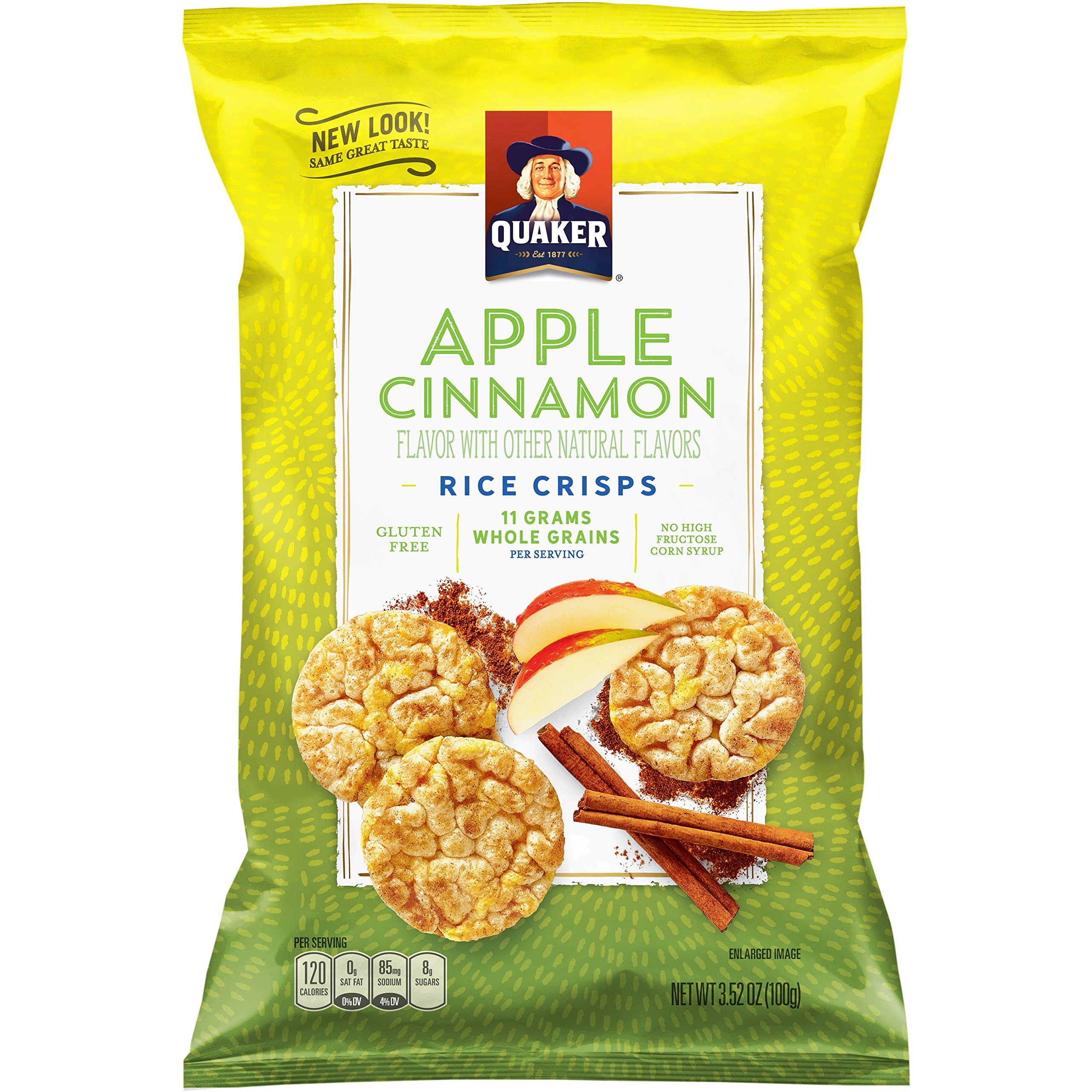 Quaker Rice Crisps, Apple Cinnamon, 3.52 Ounce, Pack of 6 (Packaging May Vary) by Quaker