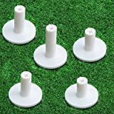 FINGER TEN Golf Rubber Tee Driving Range Value 5 Pack for Indoor Outdoor Practice Mat, Tee Adaptor Size 1.5'' 2.0''White Blac