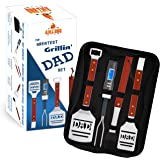 Dad BBQ Grill Set with Carry Case - 4-Piece Includes Spatula, Tongs, Digital Thermometer, Basting Brush and Case - Great Gift