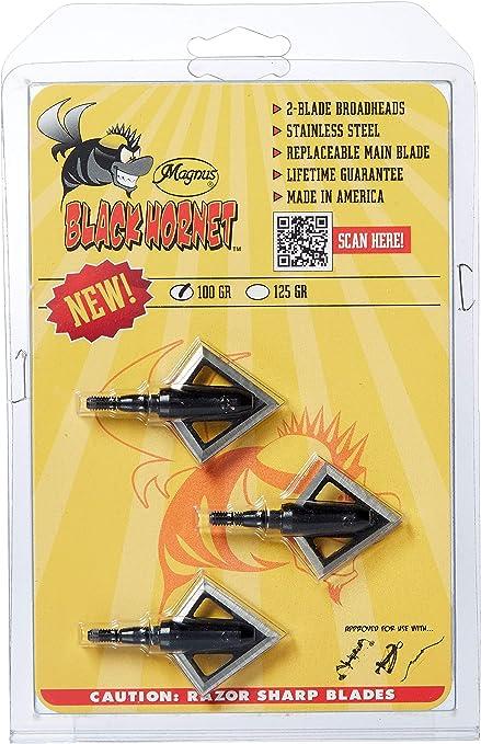 Magnus Black Hornet SerRazor 4 Blade Broadheads 125 Grain 3 Pack